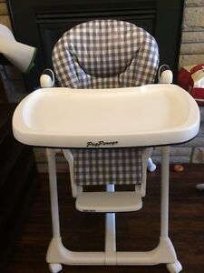 High chair, exersaucer, buntings