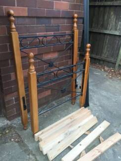 ATTRACTIVE PINE & IRON LOOK SINGLE BED FRAME Pymble Ku-ring-gai Area Preview