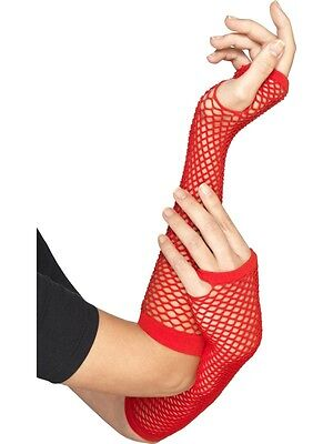 80er Jahre 1980er 90er Kostüm Lang Fischnetz Handschuhe Rot Netz Neues von