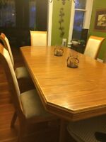 6 pc dining room table with leaf