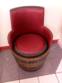 Whisky barrel seat faux leather newly upcycled.
