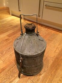 Galvanised petrol can with handle ww1 possibly ww2