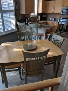 Solid Maple Table Set, leaf, 6 chairs and 3 counter swivel stool