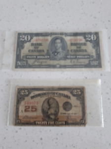 100 uncirculated $2 Can. bills, 1937 $20 bill, 1923 25 cent note