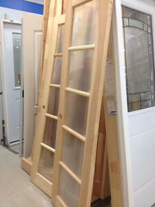 24x78 Clear Pine French Doors