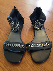 Stuart Weitman Black Flat Sandals