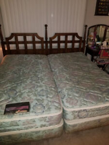 King-Sized Bed Frame, Wooden Headboard & Mattresses!!!