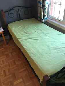 Strong wood and wrought iron Single Bed (mattress included)