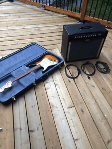 Left handed electric guitar and amplifier