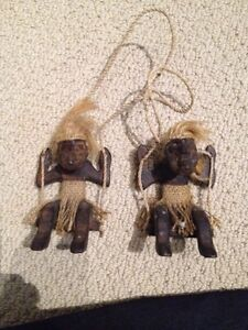 Wood Tiki on a Swing Primitive Decor (set of 2)