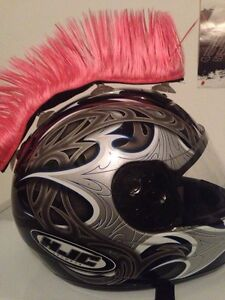 Mohawks rose pour casque moto neuf