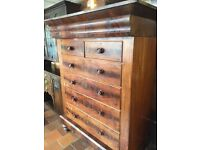 Large Scottish victorian chest of drawers
