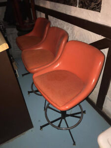Retro Orange Adjustable Bar Stools (Set of 3)