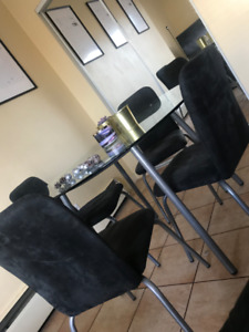 Set of 4 black Ikea dining chairs