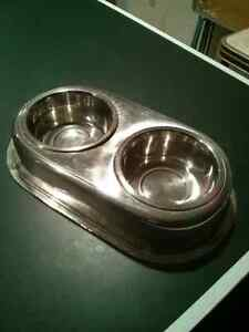 Pet dishes and mat