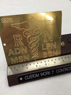 Medical Nursing Badge Large Solid Brass Engraving Plate For New Hermes Font Tray