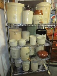 COLLECTION OF CROCKS, JUGS & BOWLS FROM ESTATE