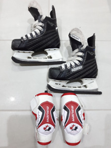 Youth size Y 10  skates Bauer Nexus and elbow pads Bauer