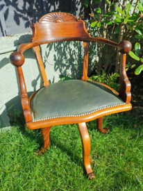 Vintage Green Leather Swivel Captain's Chair