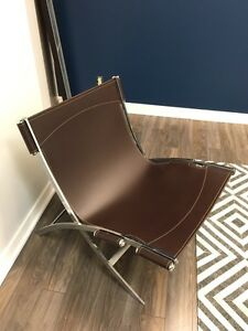 Modern Leather and Chrome Lounge Chairs