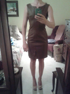 Brown leather dress $60 OBO