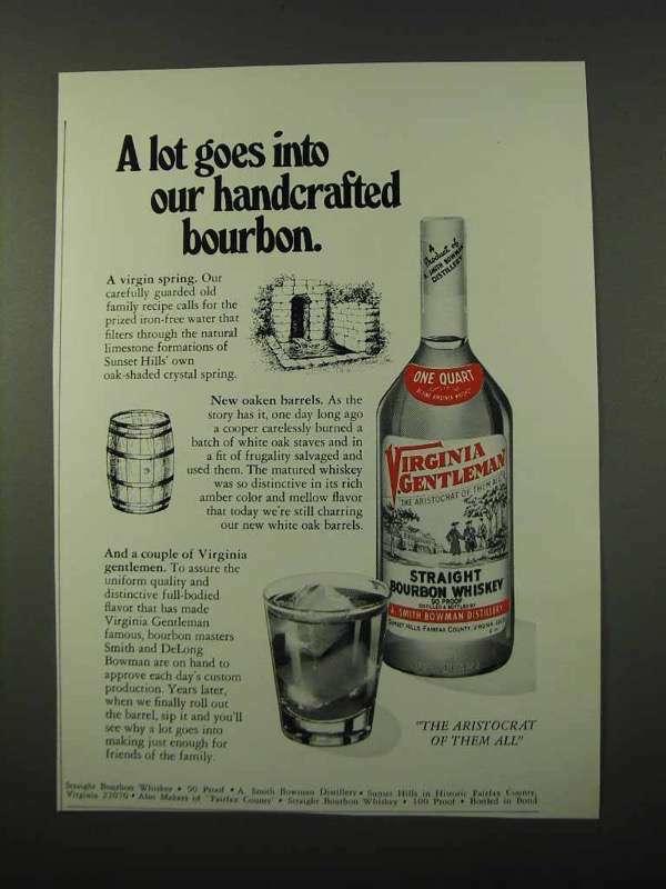 1972 Virginia Gentleman Bourbon Ad - Our Handcrafted