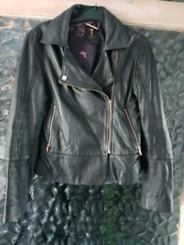 Ladies leather red baker jacket