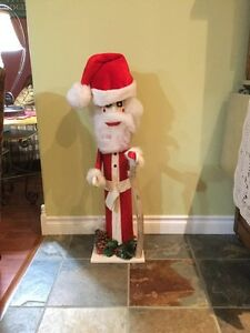 Whimsical Folkart Fence Post Santa
