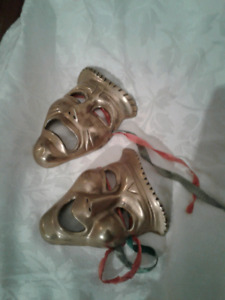 ....... BRASS Theatre Drama Masks - Decor .......