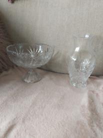 Vintage Glass Vase & Footed fruit bowl