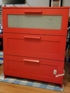 Ikea chest of drawers red