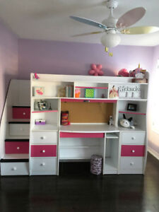 Twin Loft Bed with Desk+Storage+Play Cubby+Brand New Mattress!