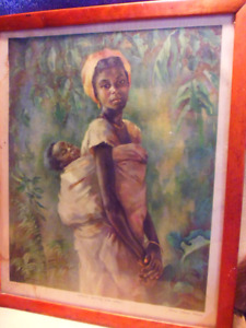 African Mother & Child 1950's Print