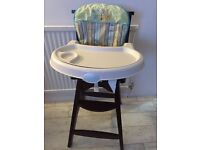 Wooden high chair with insert