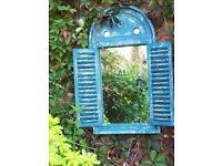 Blue Louvre Garden Mirror - Brand New