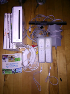 Nintendo Wii Console With 2 Controllers And 5 Games