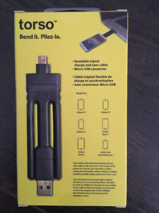 Torso ultra-portable Micro-USB cables for Android Black
