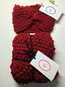 Hand Knit Head Warmer and Infinity Scarf Set - Burgundy