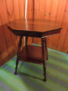 1OCTIGON HALL WOODEN OCCASIONAL TABLE PROFESSIONALLY REFINISHED
