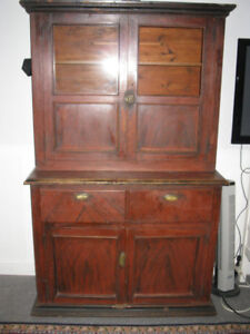 ANTIQUE EARLY 1800's FLAT TO THE  WALL CUPBOARD REDUCED