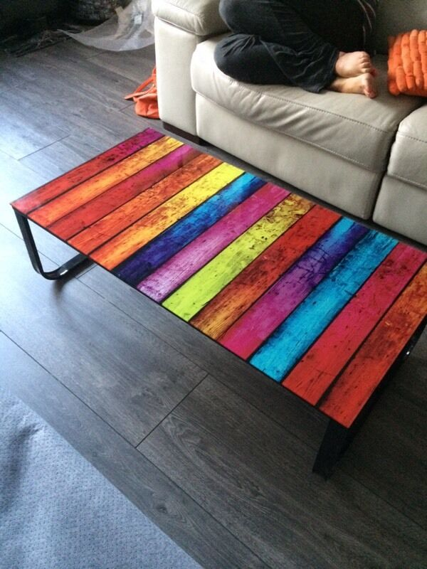 Contemporary Multi Coloured Gl Coffee Table In Oldham