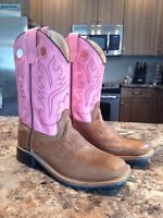 Pink and Tan Leather Little Cowgirl Boots