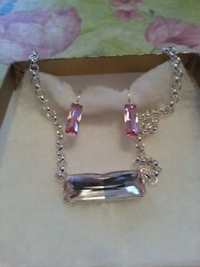 Sterling Silver Kunzite Earrings and Necklace Set
