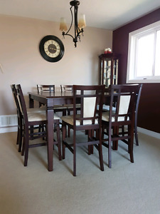 9 piece solid wood dinner table