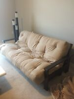 New futon mattress + wood frame - pick up today for better price