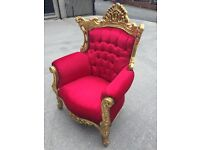 Ex-display*** beautiful red and gilt throne chair---ONLY £280---DELIVERY AVAILABLE!!!