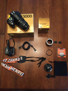 DSLR NIKON D3000 Camera BODY + Lenses + Accessories