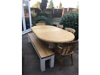 Large 6ft+ solid Pine Farmhouse 4 x Dining table, chairs and Oak bench, Seats 8