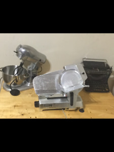 Stand Mixer, Antique typewriter and Deli meat slicer