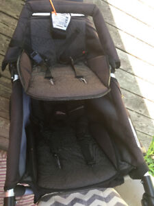 Mountain Buggy + 1 Double Stroller with Cot and Cover